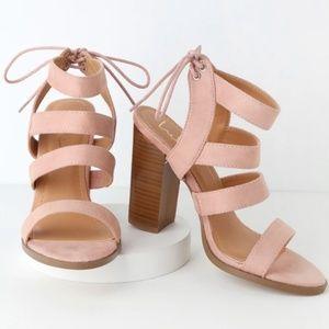 Blush Pink Suede High Heel Sandals